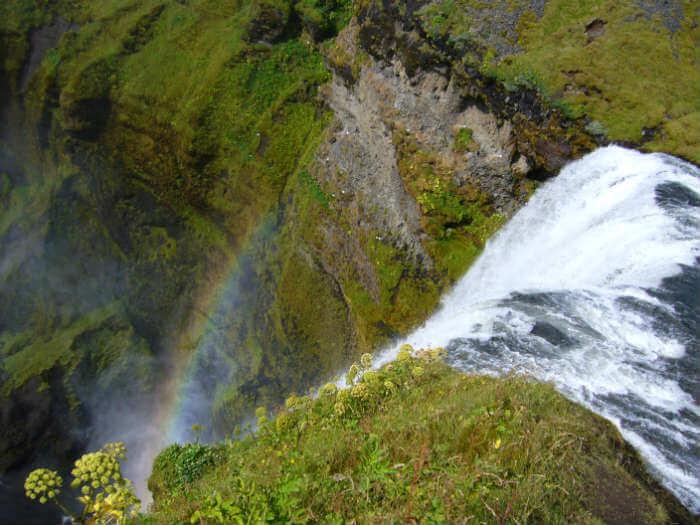 skógafoss waterval van boven